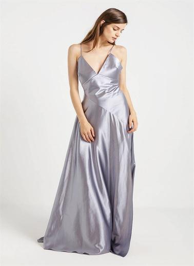 Rue İp Askılı Uzun Abiye Elbise Gümüş
